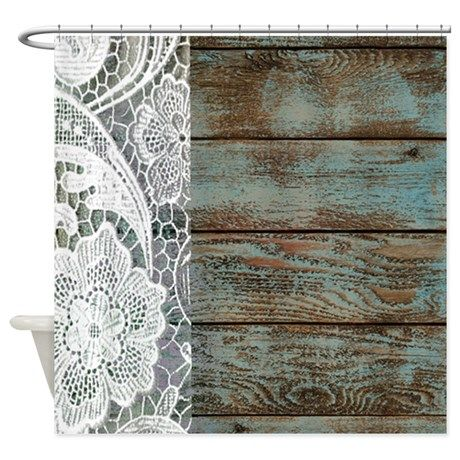 Teal Barn Wood Lace Western Country Shower Curtain Lace Barns And Showers