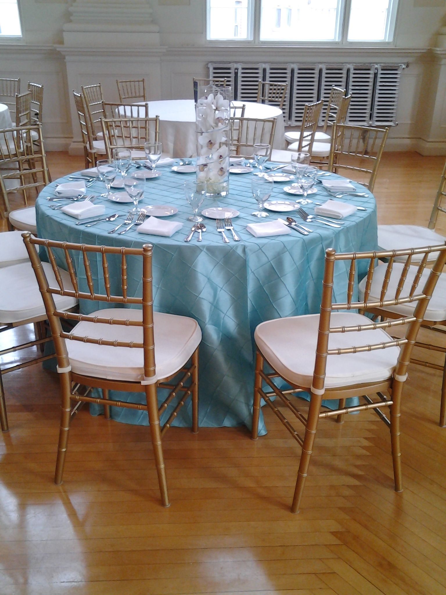 tiffany blue wedding chair covers sleep recliner ps event rental 39s pintuck table linen with