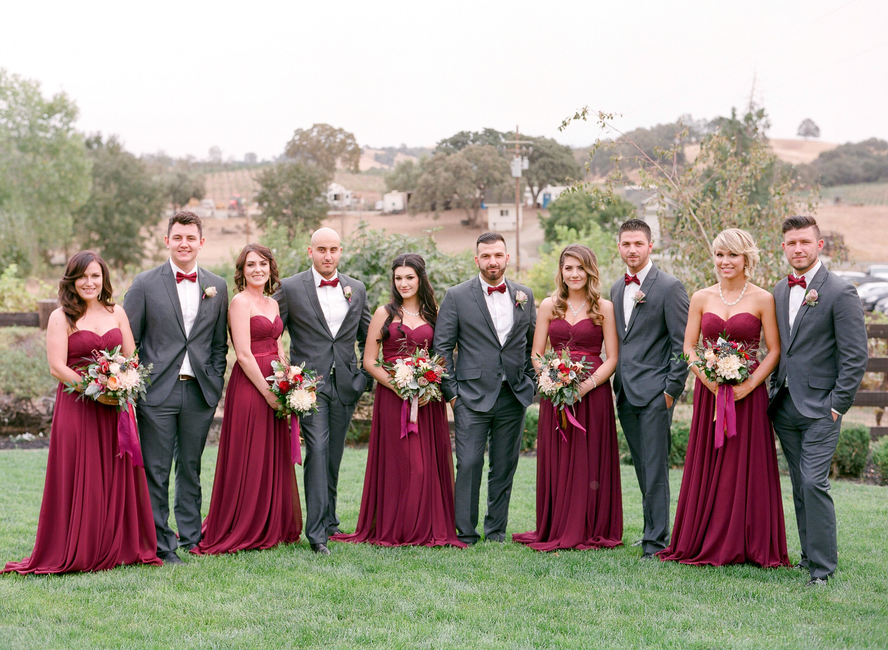 Elegant Bridal Party In Gray And Crimson  I Do