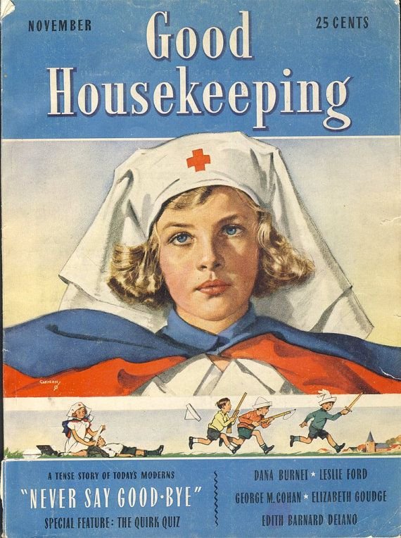 November 1938 Good Housekeeping Magazine Cover Nurse Fashion Fiction Food  Good housekeeping