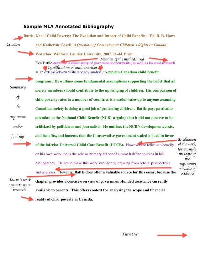 "Sample MLA Annotated Bibliography Battle Ken ""Child"