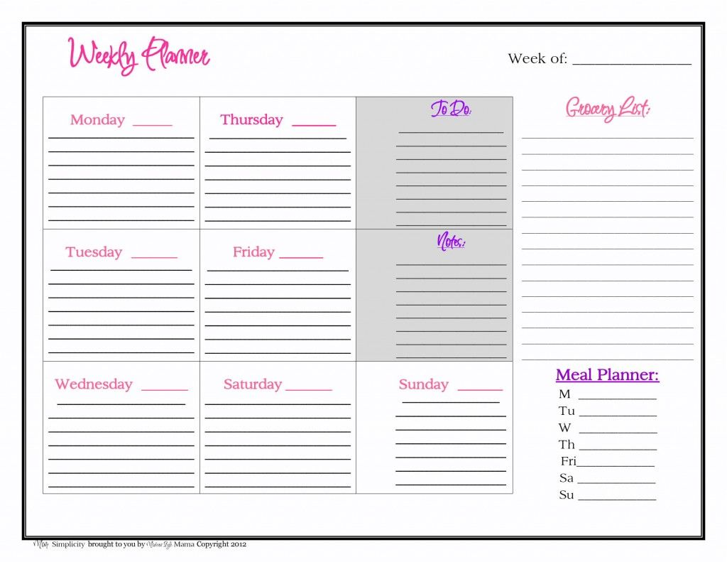 Free Weekly Planner Printable From Mom Simplicity
