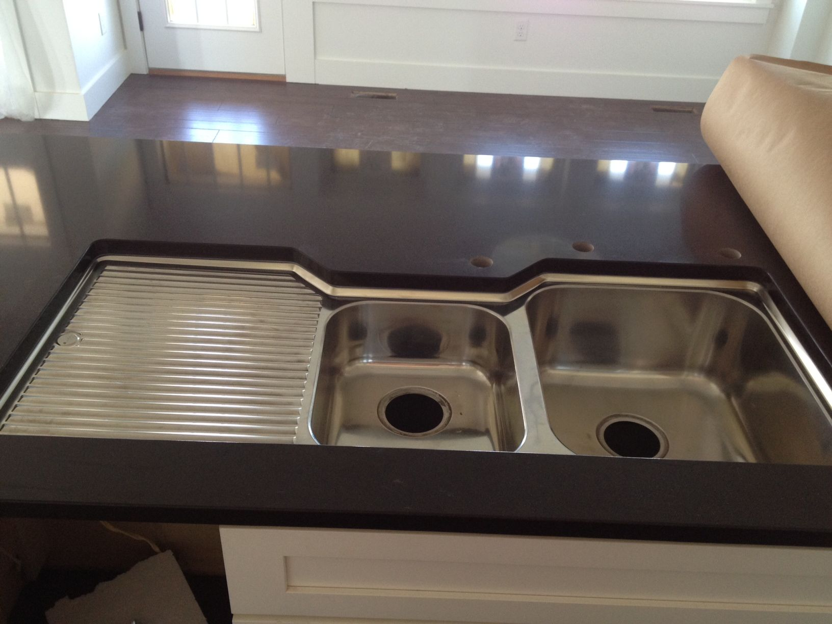 double kitchen sink with drainboard ash cabinets basin left oliveri bowl