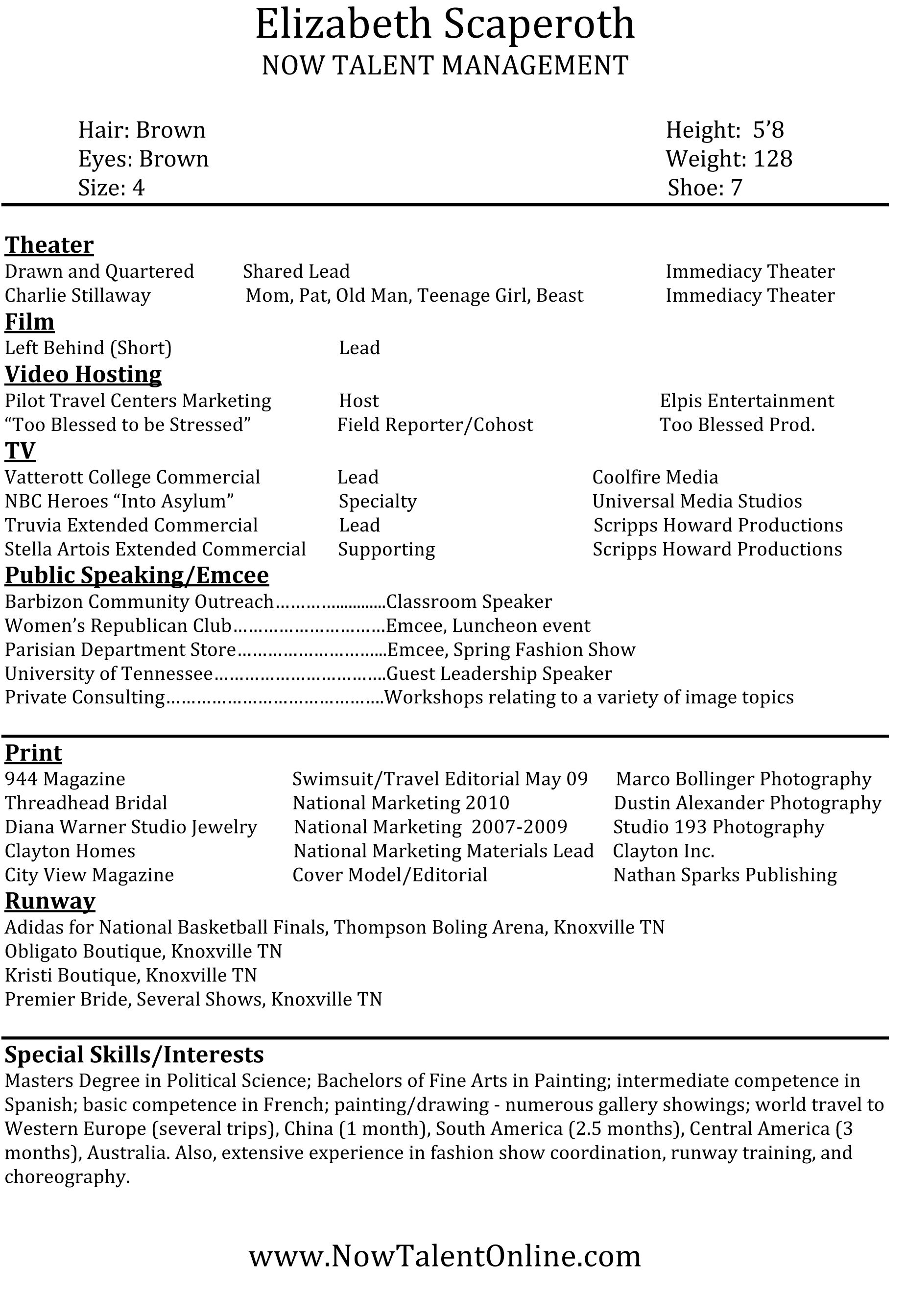 Sample Resume For Professional Acting Resumecareer