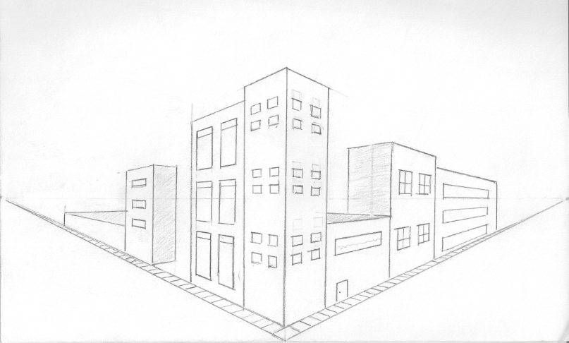 two point perspective city drawings  Google Search