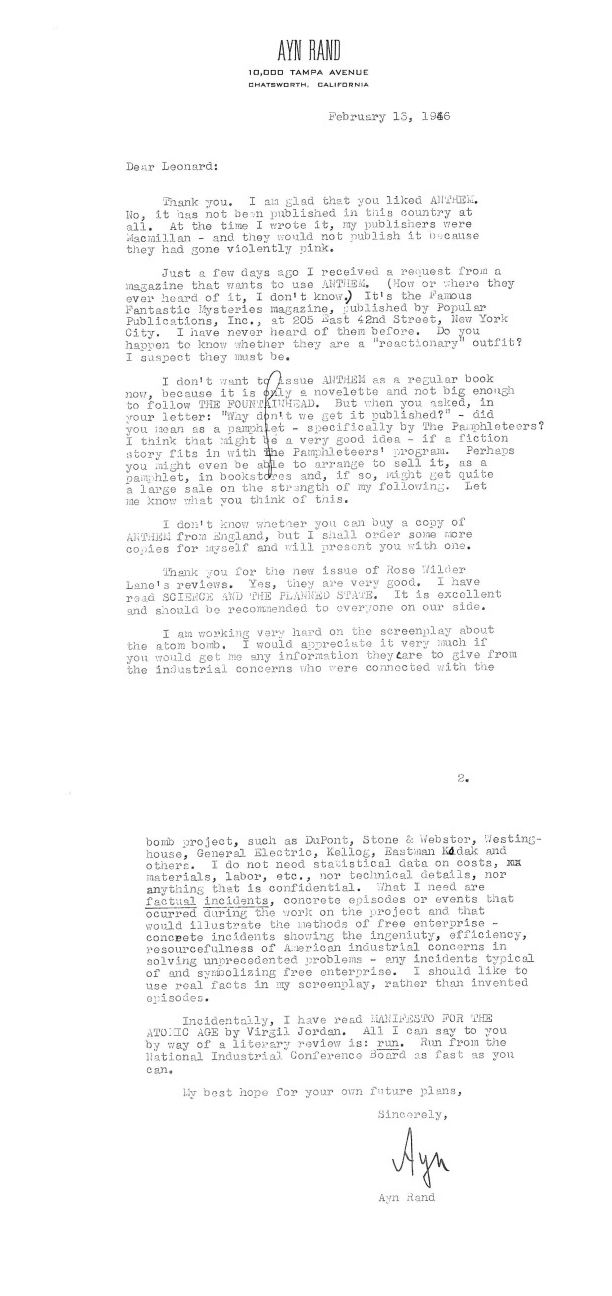 Letter from Ayn Rand to Leonard Read discussing her work