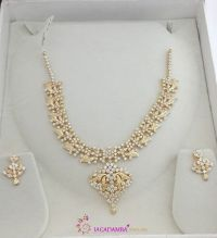 Gold White Stone Necklace Set and Earrings   White stone ...