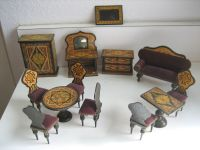 Antique miniature German dollhouse paper litho furniture