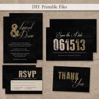 PRINTABLE Modern Gold & Black Glitter Wedding Invitation ...