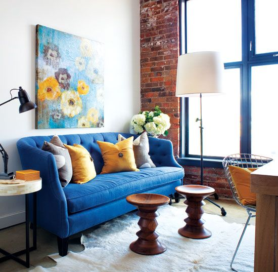 Small space interior lofty ideas yellow living also blue tufted sofa midcentury rh pinterest