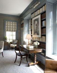 Bookshelves trim blue grey colour bookcases gardiner  larson homes love the color also rh pinterest