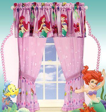 Curtains Ariel Mermaid Little Mermaid Curtains Set Ariel Girls