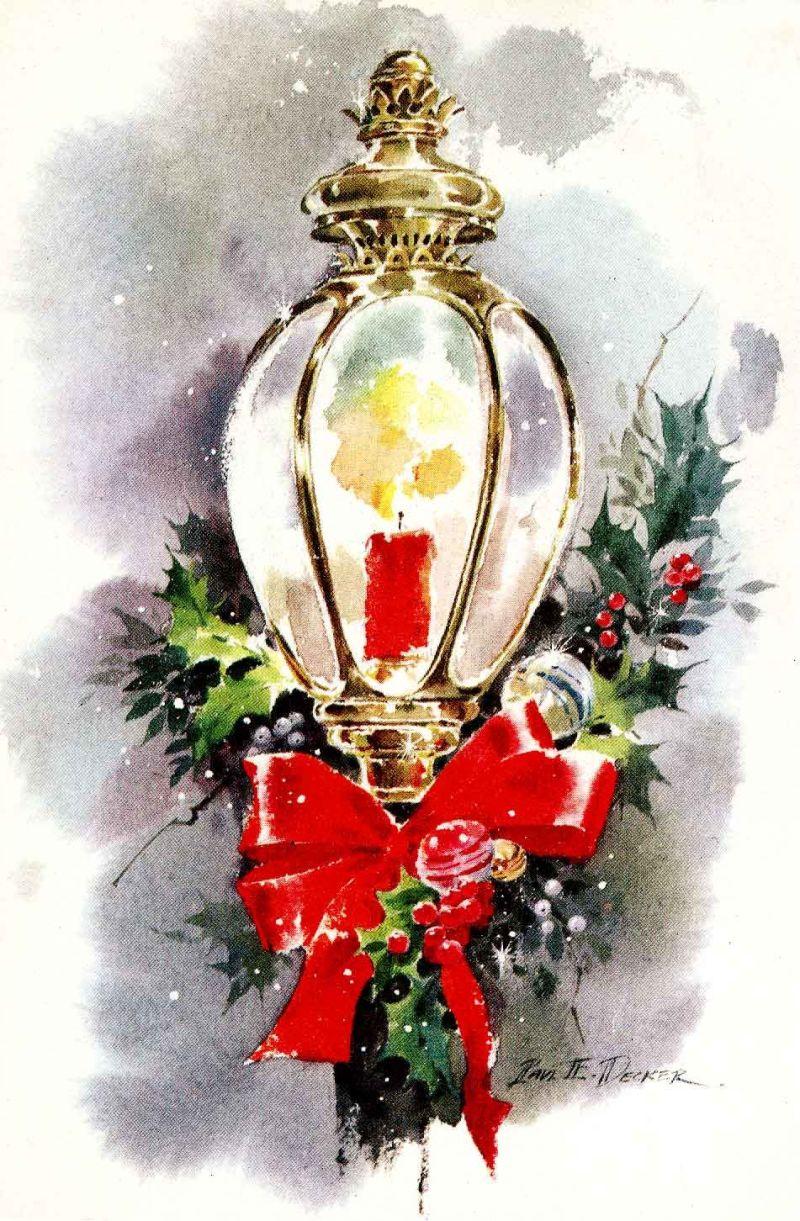 Christmas vintage ephemera greeting candles vintage