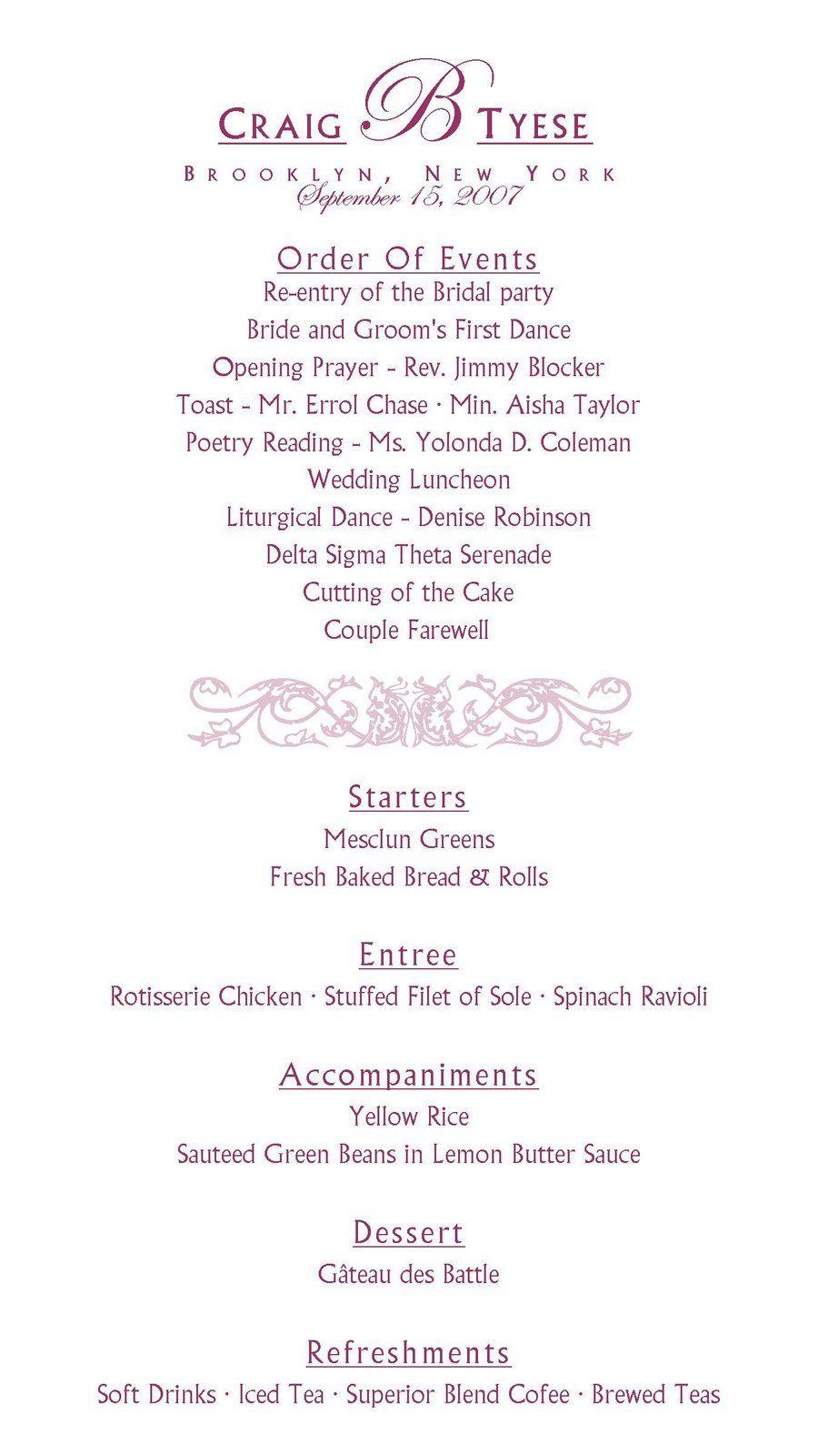 wedding reception agenda