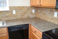 tile countertops | Antique Brown Granite Tile Kitchen ...