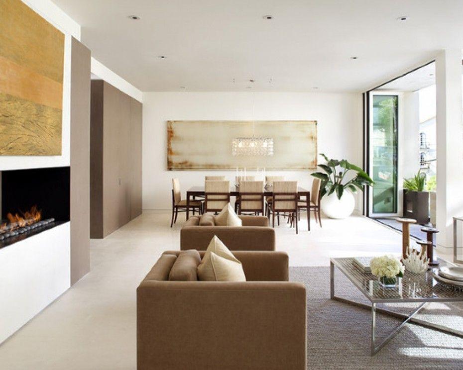 modern wohnzimmer design mit wandeingebautem kamin und
