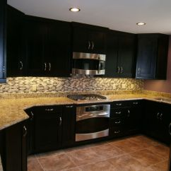 Espresso And White Kitchen Cabinets American With A Fun Subway Tile Backsplash