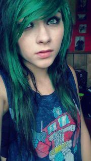 green scene hair. hair