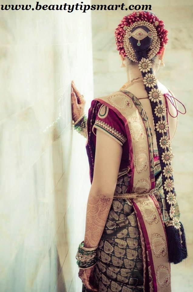 South Indian Bridal Hairstyles Wedding Reception With Pictures And