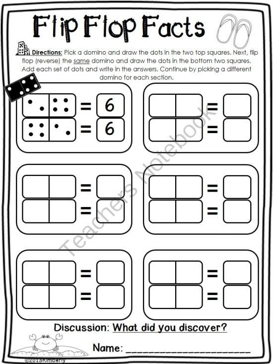 Teachers Notebook: domino math, addition facts sheet; fact