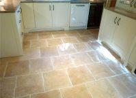 Wavy edge travertine kitchen floor tiles | Kitchen Tiles ...