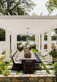 lake house. vacation house. white pergola. backyard design ...