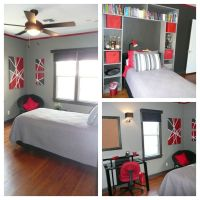 Red black and Grey Teen Bedroom. Trim and accent wall ...