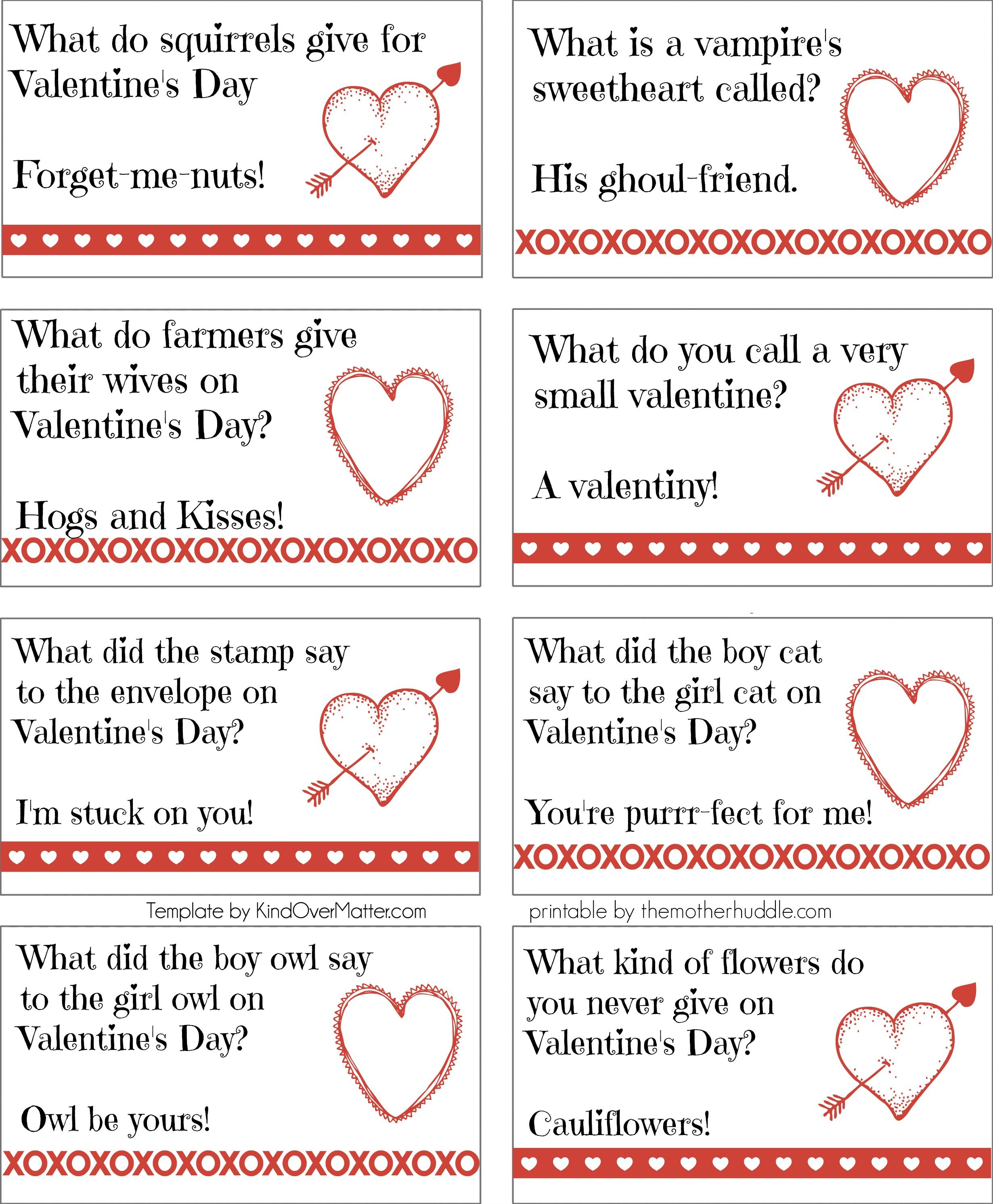 Printable Valentine Joke Notes Crafthubs
