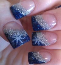 Glitter snowflake French tip nails Winter Nails