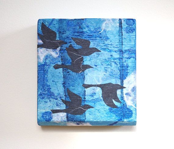 Crow wall art mixed media reclaimed wood flock of crows also best rh pinterest
