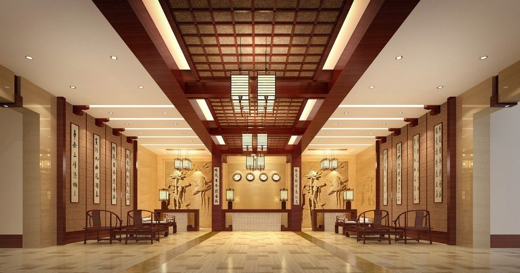 Chinese Style Hotel Lobby Interior Design Rendering Pictures 3d