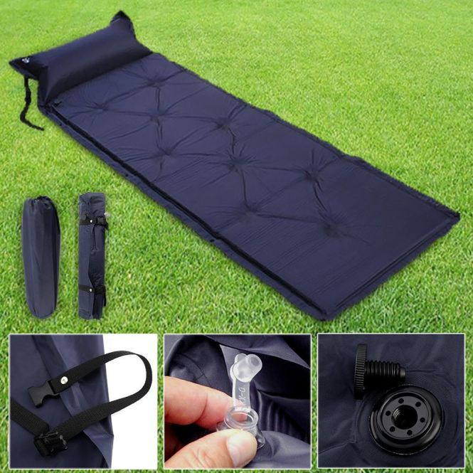 Self Inflating Camping Roll Mat Pad Inflatable Pillow Bed Sleeping Mattress Bag