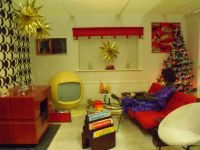 Typical 1970s living-room at Christmas time. A mix of ...