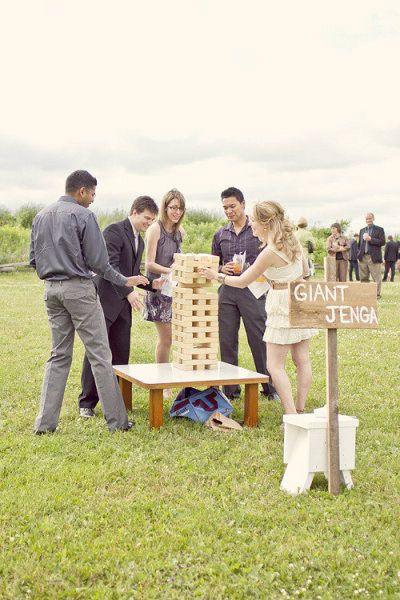 Fun Wedding Reception Activities lawn games such as giant Jenga bocce ball badminton mini