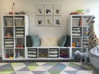 playroom. toddler room. baby animals. blue gray white gold ...