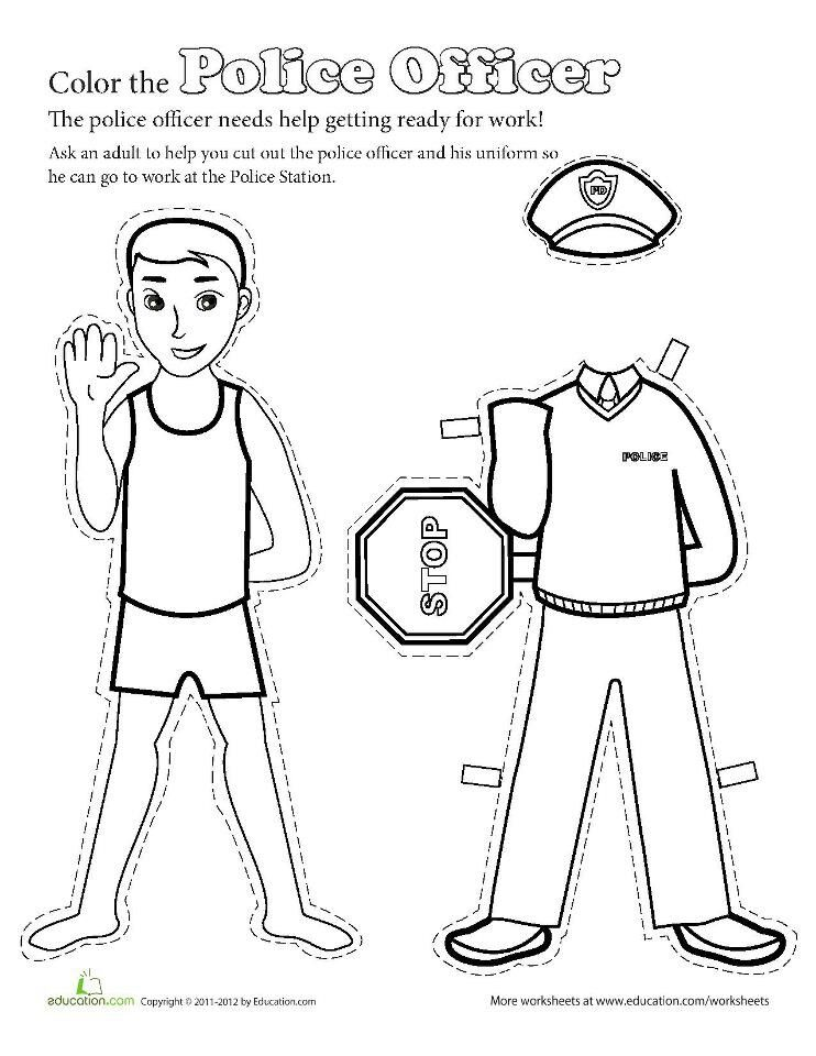 Links to a Police Officer Paper doll to color and cut. J.H