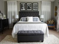 Classic Chic Bedroom Designs With Black Modern Tufted