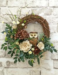 Burlap and Twig Owl Wreath, Ivory and Brown Neutral Wreath