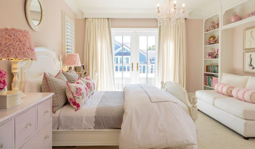 Elegant girl's bedroom designed for coastal living. Tags