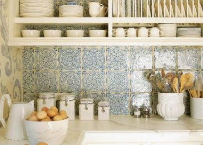 White kitchen with blue tile and accents also home kitchens colors