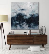large abstract seascape painting palette knife white blue ...