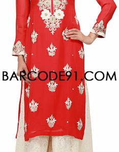 4508e98fe02 New plazo pants trousers suit designs stylish palazzo long shirts for girls  india red off white