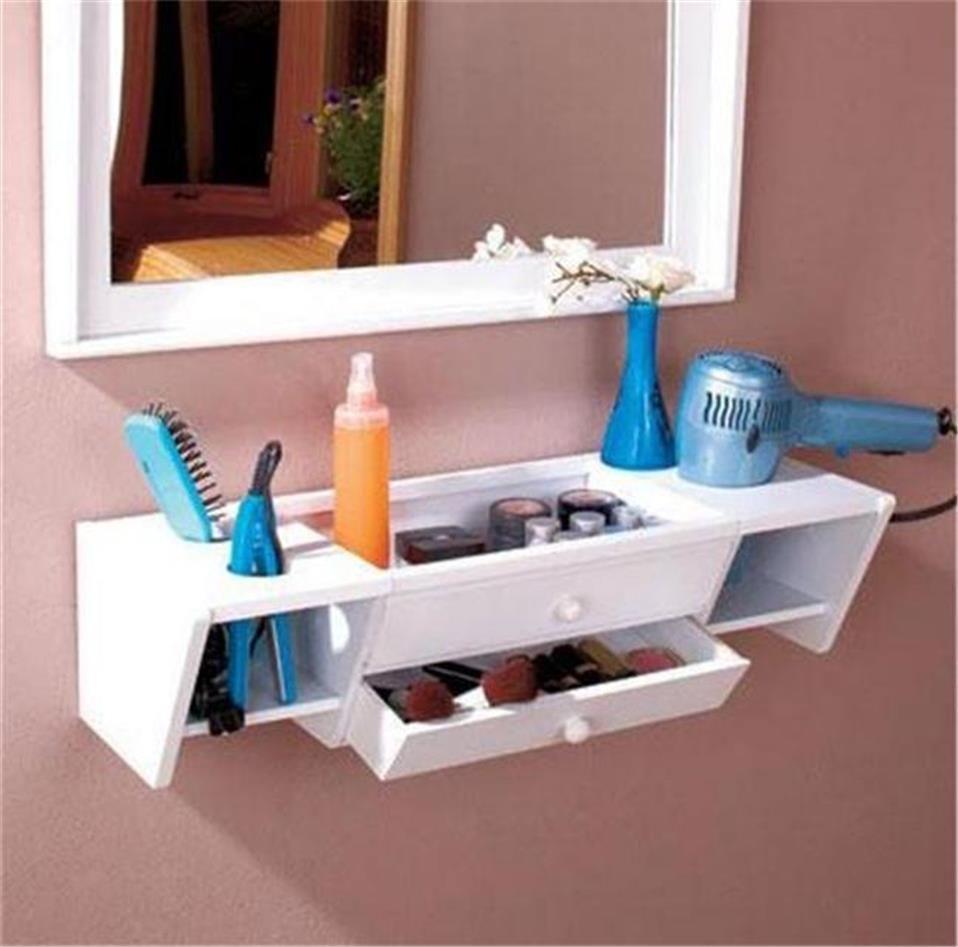 READY TO HANG WOODEN BATHROOM STORAGE ORGANIZER VANITY
