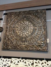 Embossed Medallion Metal Wall Sculpture Brown/Black Square ...