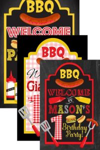 BBQ birthday welcome sign backyard bbq party by ...