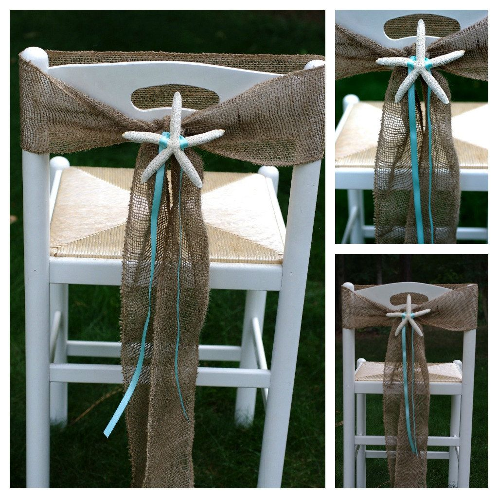 beach wedding chair decoration ideas zero gravity gander mountain burlap and starfish sashes or