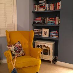 Ikea Reading Chair Back Covers Classroom Yellow Strandmon Against Little Greene Juniper
