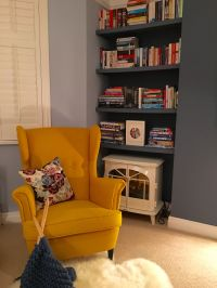 Yellow IKEA Strandmon chair against Little Greene Juniper ...