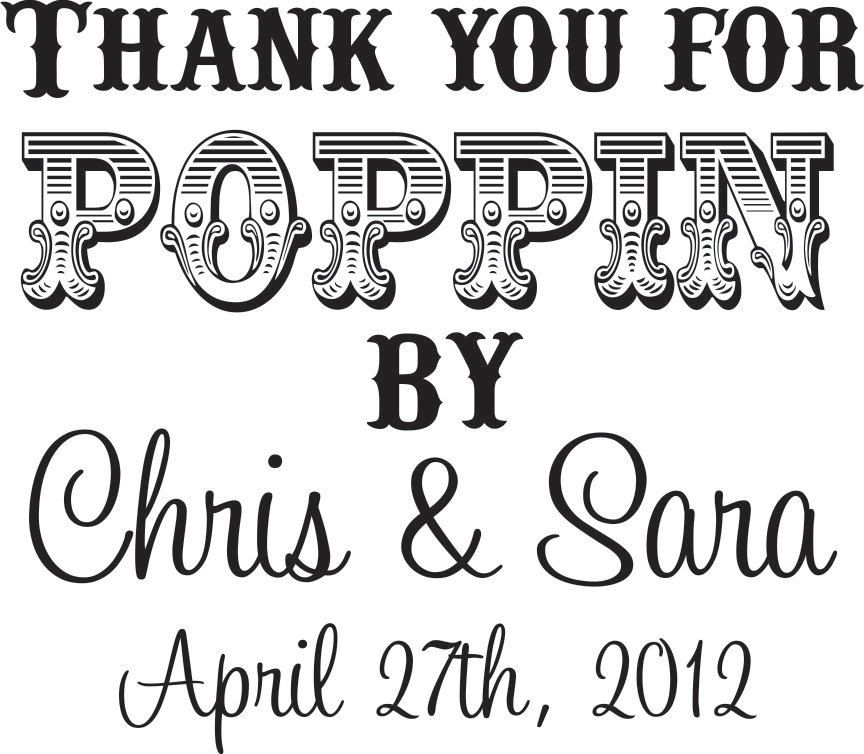 CUSTOM RUBBER STAMP Thank you for poppin by cute for