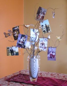 Photo tree centerpiece see more th birthday party suggestions at one stop also rh pinterest